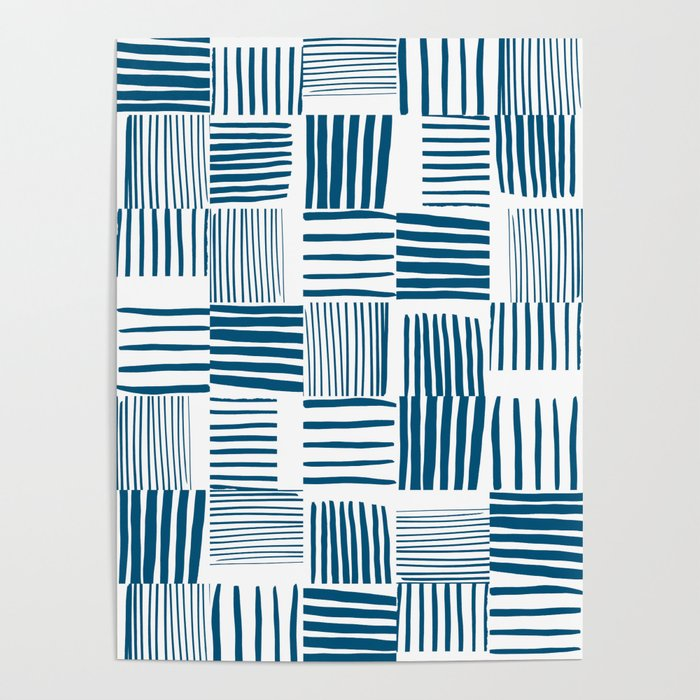 Torn Lines Abstract 03 White Blue Poster