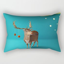 Low Poly Reindeer Rectangular Pillow