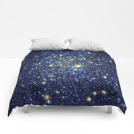 galaxY Stars : Midnight Blue & Gold Comforters