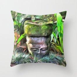 Meditation in a Tropical Garden Throw Pillow