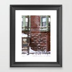 Snowy Bike Framed Art Print