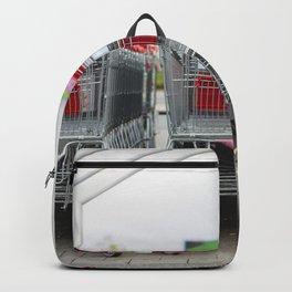 Shoppingcarts outside a supermarket Backpack