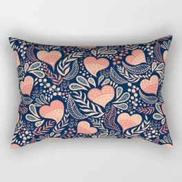 Floral Hearts Day - Blue Rectangular Pillow