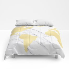 World Map Marble Gold Rush Comforters
