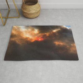 Wildfire | Nature Smoky Sky Blue Red Sun Weather Art Print Tapestry Rug