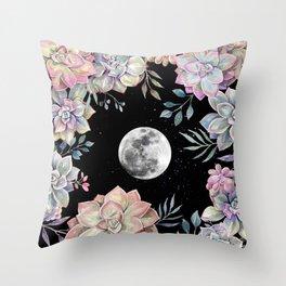 succulent full moon 4 Throw Pillow