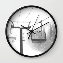 Chairlift Abyss // Black and White Chair Lift Ride to the Top Colorado Mountain Artwork Wall Clock