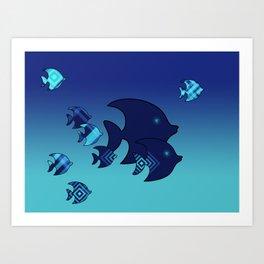 Nine Blue Fish with Patterns Art Print