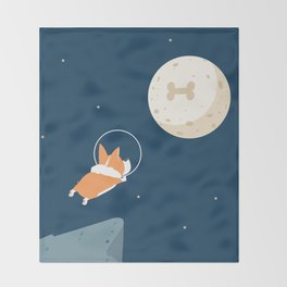 Fly to the moon _ navy blue version Throw Blanket