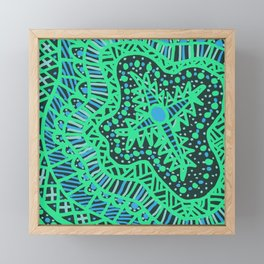 Doodle 16 Blue Framed Mini Art Print