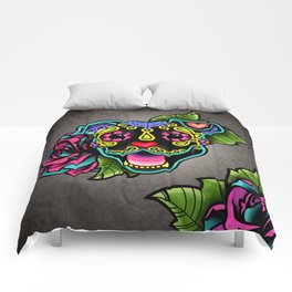 Smiling Pit Bull in Black - Day of the Dead Pitbull Sugar Skull Comforters