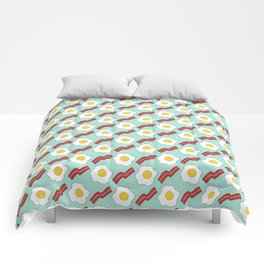 Eggs and Bacon - Hand-drawn Breakfast Pattern Comforters