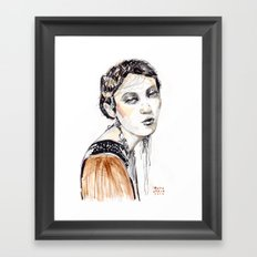 Fashion illustration with golden watercolors Framed Art Print