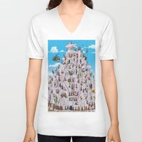 climbing V-neck T-shirts featuring Bubble climbing by Caiocomix