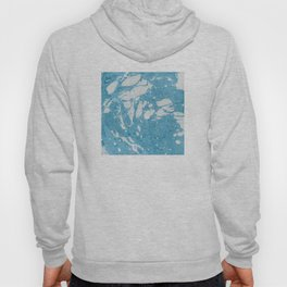 Blue Liquid Paint With Cream Splashes Abstract Design Hoody
