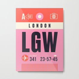 Baggage Tag A - LGW London Gatwick England UK Metal Print