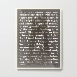 Literary Quote Poster — The Stranger by Albert Camus Metal Print