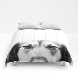 Dog portrait in black & white Comforters