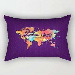 Adventure Awaits Quote Vivid Watercolor World Map Rectangular Pillow