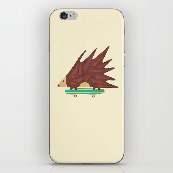 Hedgehog in hair raising speed iPhone & iPod Skin