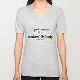 A good conscience is a continual Christmas quote, lettering. Unisex V-Neck