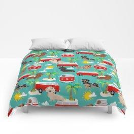 Dachshund beach day palm trees summer dogs pillow dog decor dachshund gift Comforters