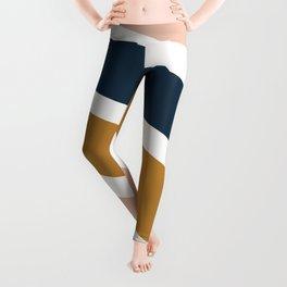 Colorful Stripes, Navy Blue, Blush Pink, Mustard Yellow, Geometric Art Leggings