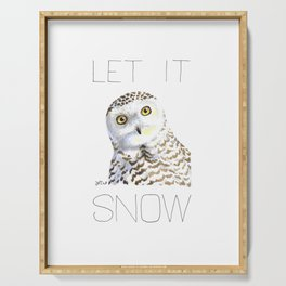 Let It Snow (Snowy Owl) Serving Tray