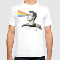 Geordi Rainbow Watercolor Portrait Geek Sci-fi White MEDIUM Mens Fitted Tee