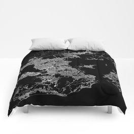 Rio map Brazil Comforters