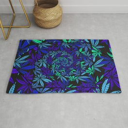 Aquatic Shades Marijuana Pot Leaf Kaleidoscope Mandala Rug