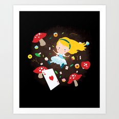 Alice Falling Down the Rabbit Hole Art Print