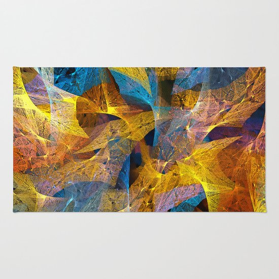 Gold & Blue Abstract Rug