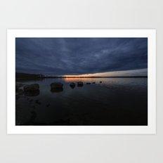 Sunset Rock Silhouettes Art Print