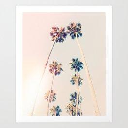 Vintage Pastel Palm trees Art Print