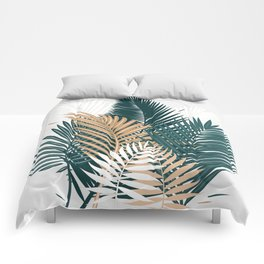 Gold and Green Palm Leaves Comforters