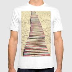 Beach path MEDIUM White Mens Fitted Tee