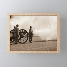 Civil War Era Cannon Firing Framed Mini Art Print