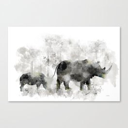 Rhino and Calf Canvas Print