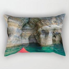 Red Kayak in Lake Superior Cave Rectangular Pillow