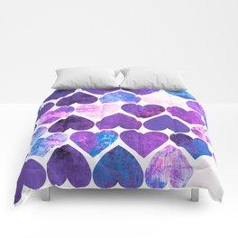Mod Purple & Blue Grungy Hearts Design Comforters