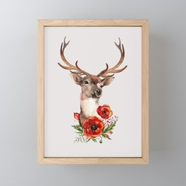 Deer with flowers 2 Framed Mini Art Print