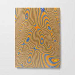 TANG bright orange blue concentric circles pattern Metal Print