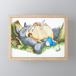 Ghibli forest illustration Framed Mini Art Print