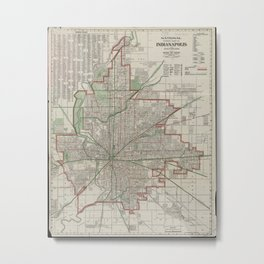 Vintage Map of Indianapolis Indiana (1921) Metal Print
