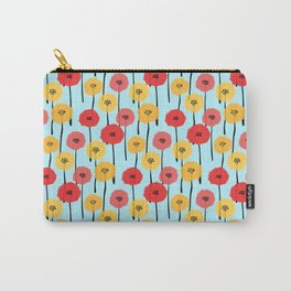 Bright Sunny Mod Poppy Flower Pattern Carry-All Pouch