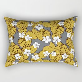 cactus with flowers sketch golden mustard, black contour on Gray background. simple ornament Rectangular Pillow