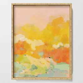abstract spring sun Serving Tray