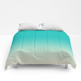 Light to Dark, Dip Dyed, Turquoise Comforters