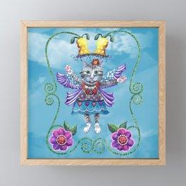 Angel Kitty (Turquoise) Framed Mini Art Print